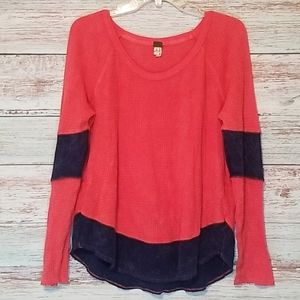 Free People Sweater Red Navy Blue Thermal …